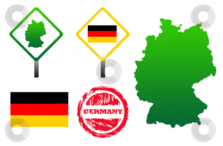 Germany icons set stock photo, Germany  icons set with map, flag, sign and stamp, isolated on white background. by Martin Crowdy