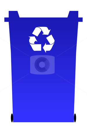 Blue recycling bin stock photo, Blue recycling rubbish bin isolated on white background. by Martin Crowdy