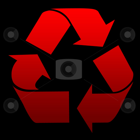 Red recycling symbol stock photo, Red recycling symbol isolated on black background. by Martin Crowdy