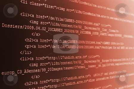 Computer code stock photo, Html computer code background showing concept for the internet by Gunnar Pippel