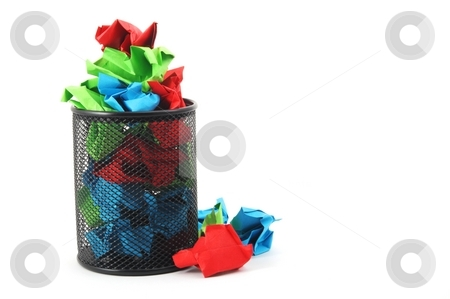 Trash in basket stock photo, Trash or rubbish paper in basket isolated on white background by Gunnar Pippel