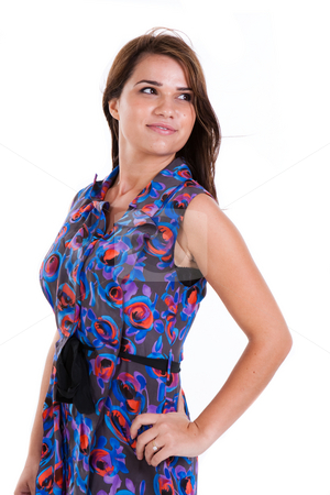Young Female Model stock photo, Young female model looking over shoulder and smiling. Vertically framed shot. by Angela Hawkey