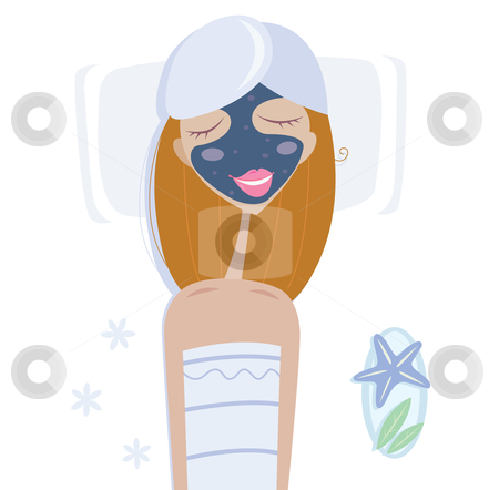 Vector - Wellness  stock vector clipart, Woman with facial mask relaxing in spa See another wellness illustration from my portfolio by BEEANDGLOW