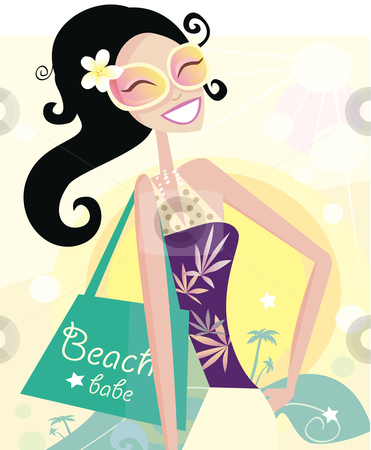Vector - Hot beach chic stock vector clipart, Beautiful diva with shopping bag on the beach Vector Illustration by BEEANDGLOW