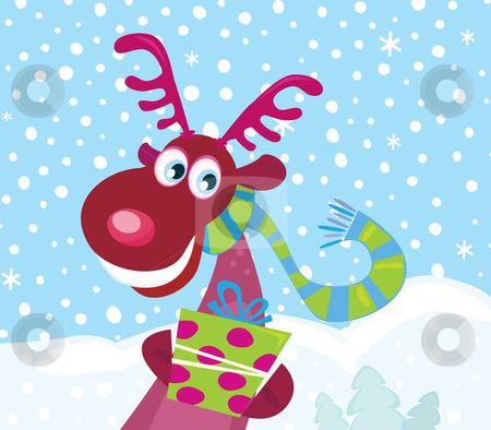 Vector - Red-nosed Rudolph on snow stock vector clipart, Cute Rudolph with christmas present Vector Illustration by BEEANDGLOW