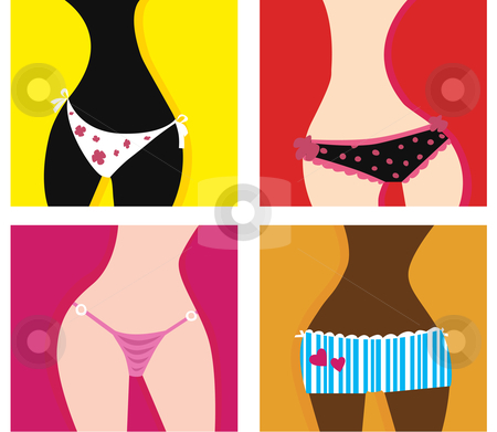 Vector - Woman in panties stock vector clipart, Artistic vector series of girls in underwear In 4 different variants by BEEANDGLOW