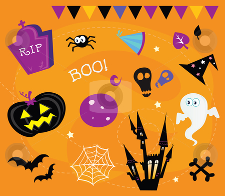 Vector - Halloween icons and design elements stock vector clipart, Retro halloween icons and graphic elements isolated on orange backgroundVector Illustration by BEEANDGLOW