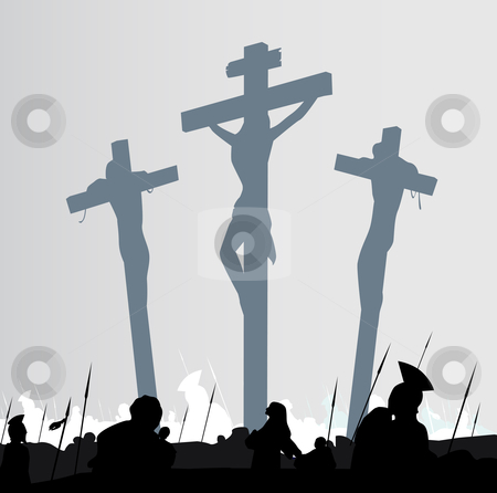 Vector - Jesus Christ crucifixion - scene with three crosses stock vector clipart, Calvary crucifixon scene with three crosses Vector Illustration by BEEANDGLOW