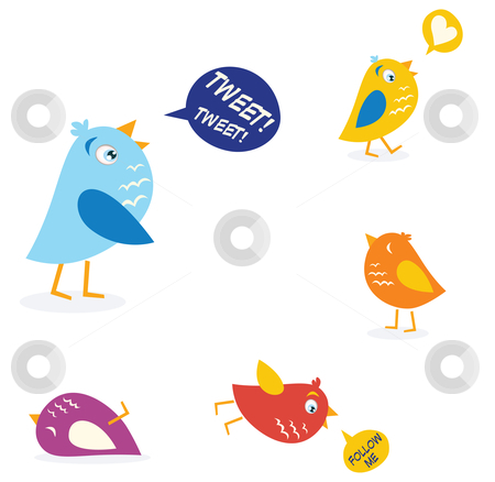 Vector - Colored twitter birds set stock vector clipart, Twitter birds set in different colors Vector Illustration by BEEANDGLOW