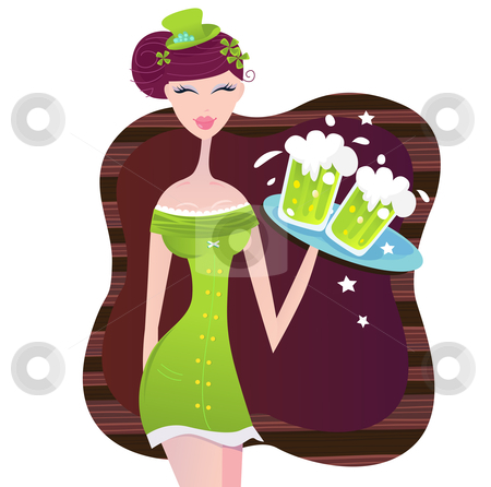 Vector - St. Patrick's Day irish girl with green beer stock vector clipart, Hot irish girl with cold beer Vector Illustration by BEEANDGLOW