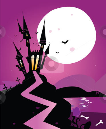 Haunted scary castle stock vector clipart, Old Scary castle. Vector Illustration. by BEEANDGLOW