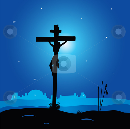 Vector - Calvary - crucifixion scene with Jesus Christ on cross stock vector clipart, Easter calvary scene with cross in dark night Crucifixion of Jesus Christ Vector Illustration by BEEANDGLOW
