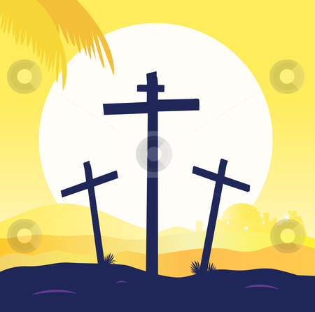 Vector - Jesus crucifixion - calvary scene with three crosses stock vector clipart, Calvary sunset scene with crosses Jesus crucifixion Vector Illustration by BEEANDGLOW