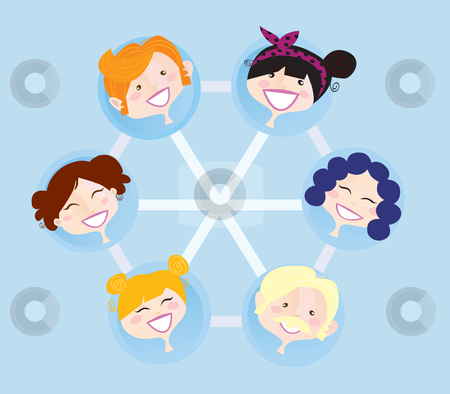 Vector - Network social group stock vector clipart, Social network group illustration Vector format Easy to change colors and resize by BEEANDGLOW