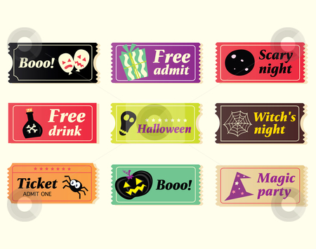 Vector - Retro halloween vector tickets stock vector clipart, Going to Halloween party Booo Use my tickets In 9 different variants Vector Illustration by BEEANDGLOW