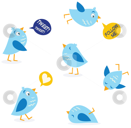 Vector - Twitter message birds set stock vector clipart, Collection of Twitter bird icons Vector Illustration by BEEANDGLOW