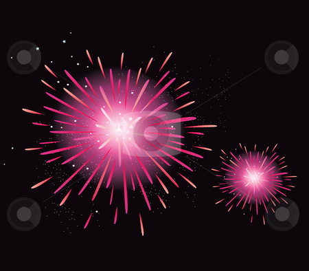 Vector - Fireworks display stock vector clipart, New Year celebration Stylized fireworks Vector Illustration by BEEANDGLOW