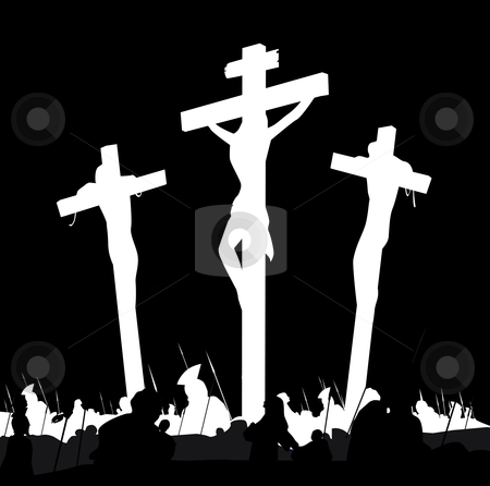 Vector - Crucifixion calvary scene in black and white stock vector clipart, Calvary crucifixon scene with three crosses Vector Illustration by BEEANDGLOW