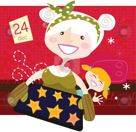 Vector - Grandmother with christmas cookies stock vector clipart, Grandmother and grandchild witch perfect christmas cookies Vector Illustration by BEEANDGLOW