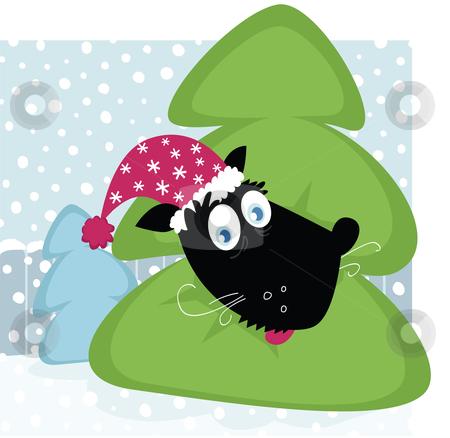 Funny dog inside christmas tree stock vector clipart, Funny dog inside christmas tree by BEEANDGLOW