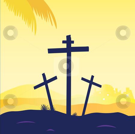 Vector - Jesus crucifixion - calvary scene with three crosses stock vector clipart, Calvary sunset scene with crosses Jesus crucifixion Vector Illustration by BEEANDGLOW