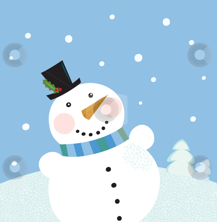 Christmas winter snowman background stock vector clipart, Cute snowman in christmas snowy nature. Vector cartoon illustration. by BEEANDGLOW