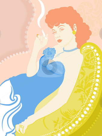 A retro illustration of a woman smoking a cigarette stock photo, A retro illustration of a woman smoking a cigarette by Su Li