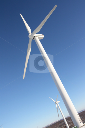 Single wind turbine in winter stock photo, Single wind turbine generating electricity by Daniel Oertelt