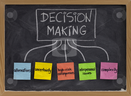 Decision making concept on blackboard stock photo, Topics related to decision making process - uncertainty, alternatives, risk consequences, complexity, personal issues; white chalk handwriting and color sticky notes on blackboard by Marek Uliasz