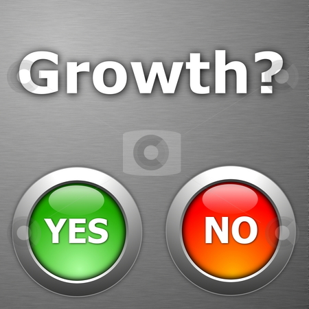 Growth stock photo, Growth and yes no botton on metal by Gunnar Pippel
