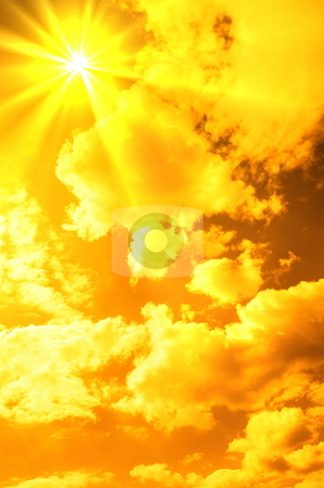 Abstract red sky stock photo, Mystic orange sky with sun showing religious energy by Gunnar Pippel