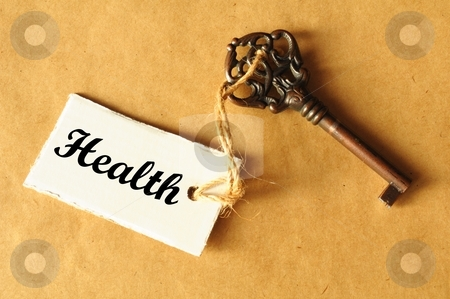 Key to health stock photo, Key to health and long life concept with label by Gunnar Pippel