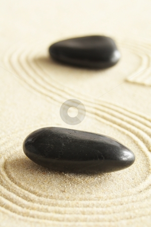 Zen garden stock photo, Zen garden with sand stones and copyspace for a text message by Gunnar Pippel