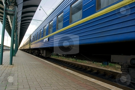 Train stock photo, Wide angle view of a blue passenger train by P?