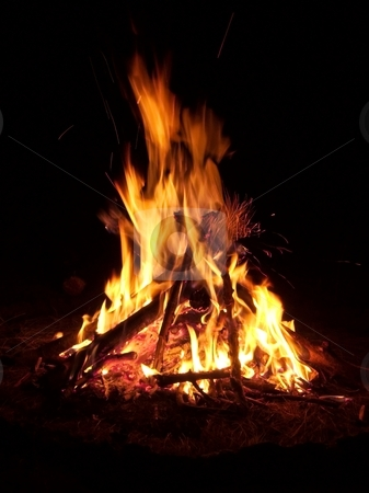 Campfire stock photo, Flames of a campfire in the night by P?