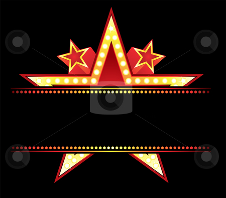 Neon at Star stock vector clipart, Big star behind blank neon sign by Oxygen64