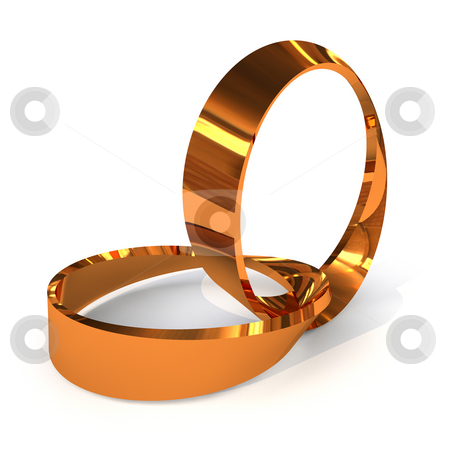 Twisted wedding rings stock photo, Pair of golden wedding rings twisted together with shadow by Michael Travers