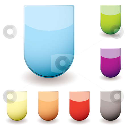 Glass sheild icon stock vector clipart, Basic web icon in the shape of a shield with shadow and colour variation by Michael Travers