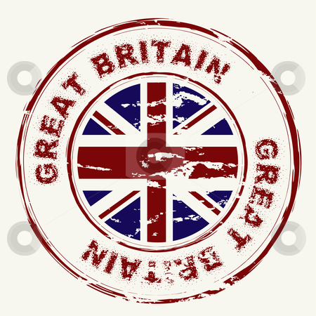 Great britain grunge ink stamp stock vector clipart, Great britain grunge ink rubber stamp with union flag by Michael Travers
