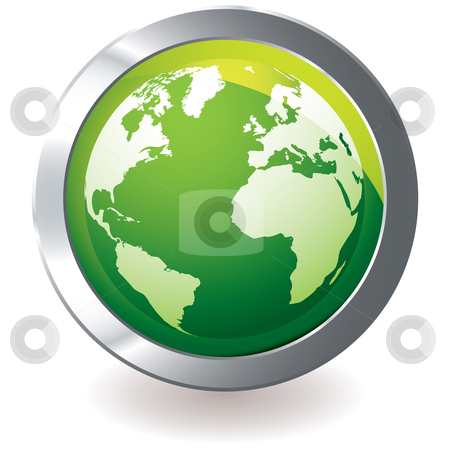 Green icon earth globe stock vector clipart, Green earth globe icon with silver metal bevel and shadow by Michael Travers