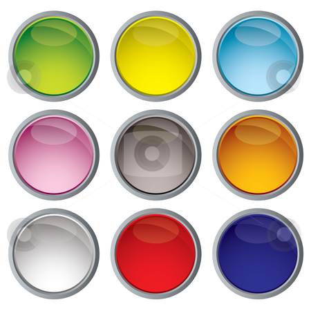 Web icon variation stock vector clipart, Nine web icon buttons with bright colors and metal trim by Michael Travers