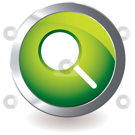 Green icon magnifying stock vector clipart, Green icon with silver metal bevel and magnifying glass symbol by Michael Travers