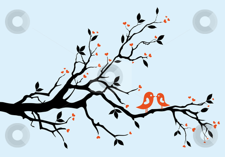 Spring tree stock vector clipart, Spring, love birds sitting on a tree by Beata Kraus