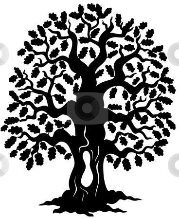 Oak Tree Silhouette Stock Vector
