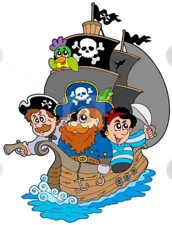 Ship with various cartoon pirates stock vector clipart, Ship with various cartoon pirates - vector illustration. by Klara Viskova