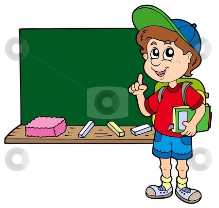Advising school boy with blackboard stock vector clipart, Advising school boy with blackboard - vector illustration. by Klara Viskova