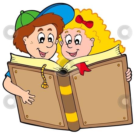 School boy and girl reading book stock vector clipart, School boy and girl reading book - vector illustration. by Klara Viskova