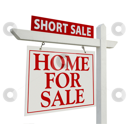Short Sale Real Estate Sign - Left stock photo, Short Sale Real Estate Sign Isolated on White - Left Facing. by Andy Dean