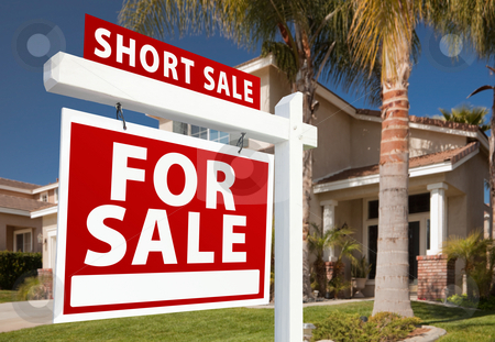 Short Sale Real Estate Sign and House - Left stock photo, Short Sale Home For Sale Real Estate Sign and House - Left Side. by Andy Dean