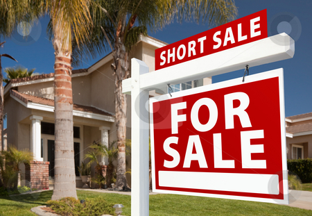 Short Sale Real Estate Sign and House - Right stock photo, Short Sale Home For Sale Real Estate Sign and House - Right Side. by Andy Dean